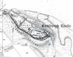 Bamburgh castle, circa 1870