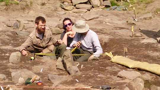 Casey, Abbey and Michael tackle one of the section drawings for the southern beam slot