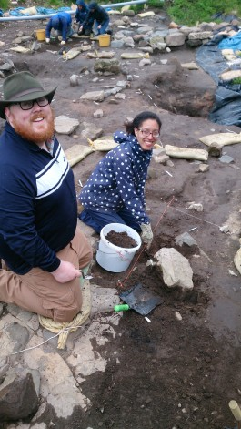Chris and Alexandra excavating the western beam slot.....or is it????