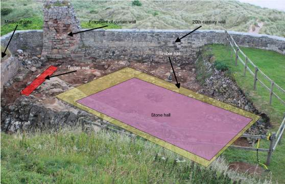Trench 1, labelled to identify the key features, facing north