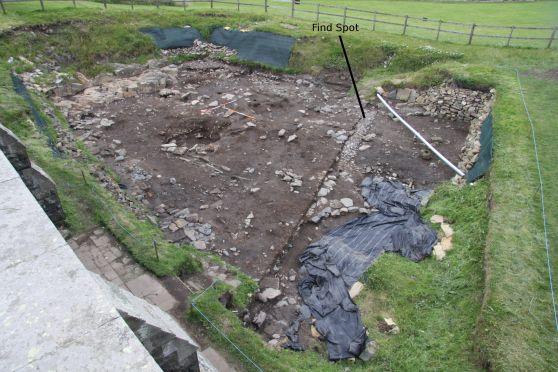 excavation showing find spot