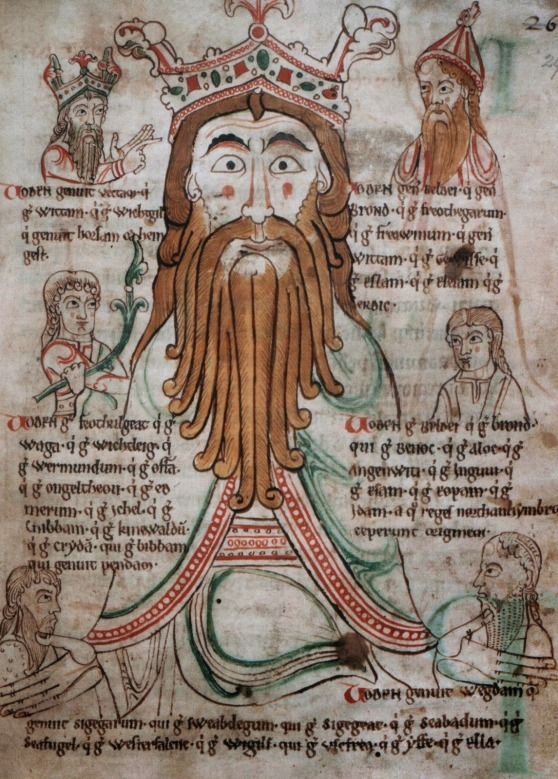 Manuscript page featured portrait of ginger man with long, curled beard.