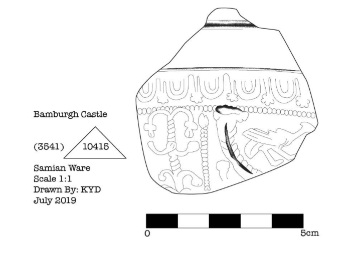 Line drawing of Roman pottery sherd.